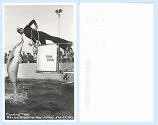 Feeding Time Diver Fish A1A Marineland Florida RPPC Real Photo Postcard