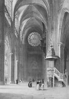 FRANCE Interior of Strasbourg Cathedral - SUPERB 1843 Lithograph Print