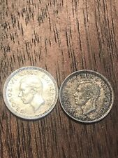 (2) New Zealand Km#7 3 Pence Silver Coins 1940 & 1942