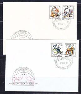 Germany DDR 1986 FDC covers Mi 3019-3022 Sc 2542-2545 Monkeys Dresden Zoo Gepard