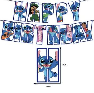 Disney Stitch Happy Birthday Banner Bunting Flag Hanging Party Decoration
