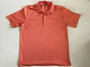 Greg Norman ML 75 Short Sleeve Coral Stripe Golf Polo Shirt Men's Large