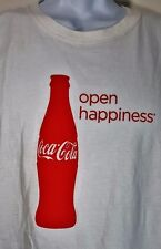 "Coca Cola ""Open Happiness"" White XL T-Shirt 100% Cotton crew neck short sleeve"