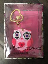 NWT Betsey Johnson PINK OWL Mirror Mirrored Key Fob Keychain