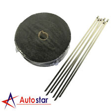 AU Local WRAP 50MM X 15M + 6 STAINLESS STEEL TIES 2000F BLACK EXHAUST HEAT