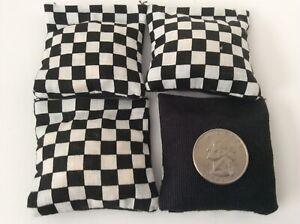 "4 Black & White Checked ( Black  Back)  Mini cornhole, bean bags, 2"" X 2"""