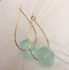 Min Favorit Seafoam Beach Glass Nugget & Gold Pl Artisan Drop Earrings NEW!