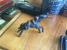 Grey Iron Indian Figure Lying On Horse, Cast Iron Native American Shooting Rifle