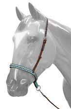 Showman TEAL Filigree Copper Studded MediumOil Leather Horse Noseband Tiedown