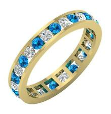 Blue Topaz Eternity Ring 14K Yellow Gold Vs1 F 1.00 Carat Natural Round Diamond