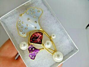 Gingko flower brooch pink purple silver enamel rhinestone vintage style pin