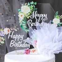 1Pcs Acrylic Happy Birthday Cake Toppers Flower DIY Clear Cupcake Wedding Decor