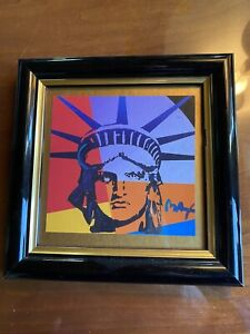 Peter Max HAND SIGNED & PAINTED Original Statue Liberty Head Acrylic 1 of Kind