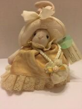 "Russ Li'l Elegance Bunny Lace Hat and Peach  Dress Green Ribbon Purse 6.5"" Tall"