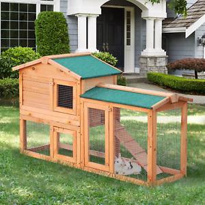 Wooden Rabbit Hutch with Run Ramp Pet House Bunny Guinea Outdoor Waterproof Roof
