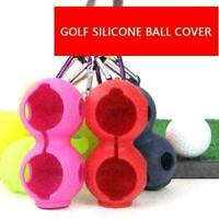 Golf Ball Silicone Ball Sleeve Protective Cover Bag Keyring Golf Accessorie Q1D7
