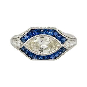 Platinum 1.01ct Marquise Diamond Center Sapphire Ring