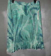 NWTS N.Y. COLLECTION,SZ.LARGE,EMERALD MULTI,PLEATED,LINED STRETCH SKIRT