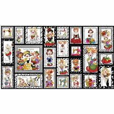 """Loralie Harris Sew Curious Sewing Ladies Lady Scenes Cotton Fabric 24""""X44"""" Panel"""