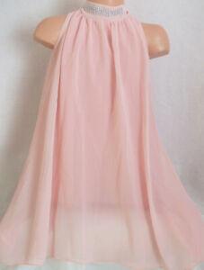 GIRLS 60s STYLE PASTEL PINK DIAMONTE TRIM CHIFFON SWING PARTY DRESS age 7-8