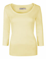 Womens Plain Tops 3/4 Sleeve Scoop Neck Stretch Cotton T-Shirts Yellow Size 14
