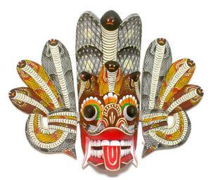 "Handmade Wooden Home Decor Traditional Tiki Cobra Mask 10"" Wall Hanging Decor"