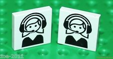 Lego 2x White Tile 2x2 Custom Printed With Call Centre Logo NEW!!!