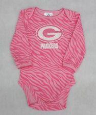 NFL Green Bay Packers Girls Pink Zebra Stripe Long Sleeve Bodysuit 0-3 Months