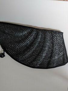 STRAW VINTAGE  BLACK CLUTCH BAG SIZE 35X20 CM FAN SHAPED STATEMENT PIECE NEW