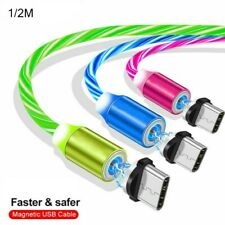 360° LED Magnetic Glowing Flowing Fast Charging Cable Type-C Micro USB Charger
