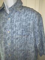 TURNBURY Mens 100% Linen S/S Blue Floral Button Up Shirt Size MEDIUM EUC
