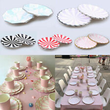 8Pcs Disposable Dinner Paper Plates Drink Cups Wedding Banquet Party Tableware