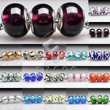 5/10stk.Muranoglas Perlen Lampwork Großlochperlen Charm European Beads DIY LB2