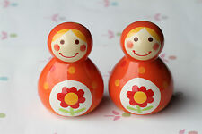 2 x Orange Ceramic Figurine Roly Poly Russian Doll Style Ornament Home Deco VAT