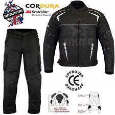 Mens Motorcycle Waterproof Cordura Textile Jacket Trousers Motorbike CE Armours