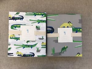 New  Pottery barn kids alligator queen sheet set and duvet cover 5pc