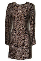 H&M Women's 34 / UK 6 Animal Print Shift Dress Crepe Rayon Purple Blush Bloggers