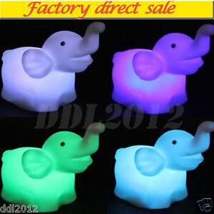 Cute Elephant Shape Color Changing LED Night Light Lamp Wedding Party Decor