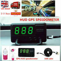 Car HUD GPS Speedometer Head Up Display MPH/KM/h +Universal Car Charger UK Stock