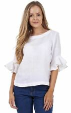 Ladies White Ruffle Sleeve Casual Top Plain Short Sleeve Pure Linen Blouse