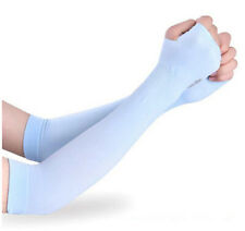 Long Arm Driving Half Finger Gloves Sleeve Sports UV Sun Protection Cover BLUE
