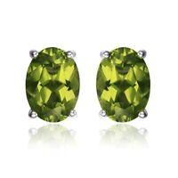 1.78 ct Genuine Oval Green Peridot 925 Sterling Silver Stud Earrings UK Seller