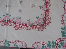 Vtg rose pattern 40-50s pink red and mint green table cloth 70X50 inch