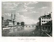 Zürich Vue depuis l'Hotel de l'Epeé à Zurich Aquatinta von Siegfried ca. 1830