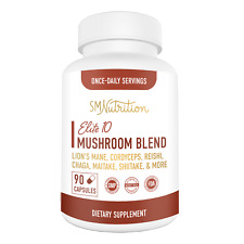 10 Mushroom Extract Supplement (90 Capsules) Immunity, Vitality Support