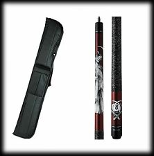 New Action ADV102 Pool Cue Stick - Burgundy w/Grim Reaper  18 - 21 oz & Case