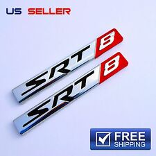 SRT8 Logo 3D Emblem Badge Sticker Decal Metal Chrome  EE05 - 2PCS
