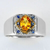 Natural Citrine & Blue Sapphire Gemstone with 925 Sterling Silver Ring for Men's