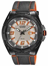 Citizen Eco-Drive Men's AW1385-03H BRT Orange and Black Leather Strap Watch