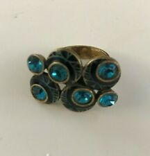 Pilgrim, teal, statement ring, circles, bubbles gold tone one size adjustable